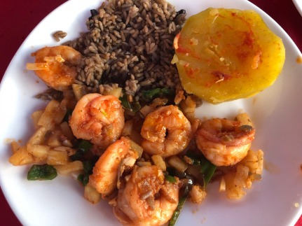 Camarones (shrimp) with, yuca, black rice and beans