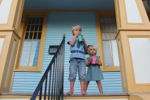Kids on our front porch of our Airbnb in New Orleans