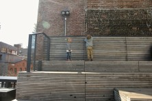 The wooden sundeck of the High Line is a perfect spot to play.