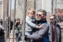 Taking a break on Brooklyn Bridge