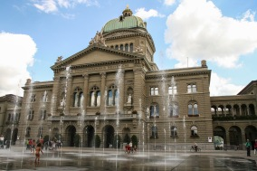 The fountain in front of the Swiss parliament in Bern is a popular playground.